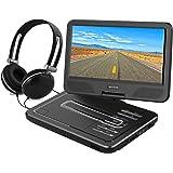 WONNIE 10,5 Lecteur DVD portable avec un écran rotatif 270°, Carte SD et prise USB avec charge directe Formats/RMVB/AVI/MP3/JPEG, Parfait pour Enfants (Noir)