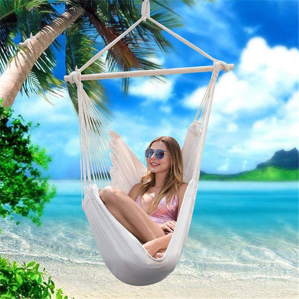 Yard Hanging Chair with Cotton Rope for Indoor Garden,4 Seat Cushions Included with Hook 330 Pound Capacity Hammock Chair Hanging Rope Swing Patio Outdoor Home Deck