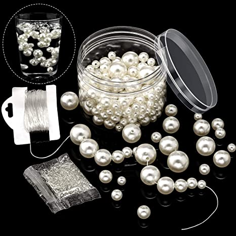Jewelry DIY Party D 200 Pieces Assorted Size Artificial Round Pearls Ivory Pearl Beads ABS Pearl Beads with 1000 Pieces Clear Round Crystal Soil and 10m Beading Thread in Clear Box for Vase Filling