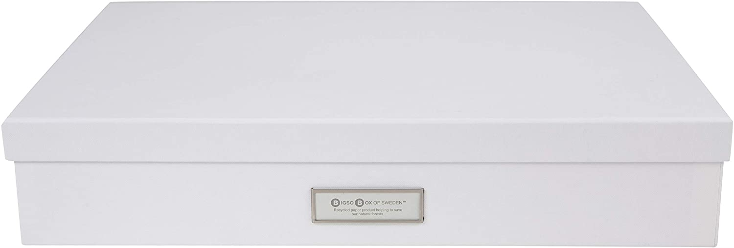 Bigso Sverker Fiberboard Legal/Art Storage Box, 3.3 x 17.1 x 12.2 in, White