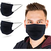 TUFF Face Mask- Breathable Washable Reusable Masks -100% Cotton - Hand Made -Single Layer-Made in USA (Black 2 Pack)