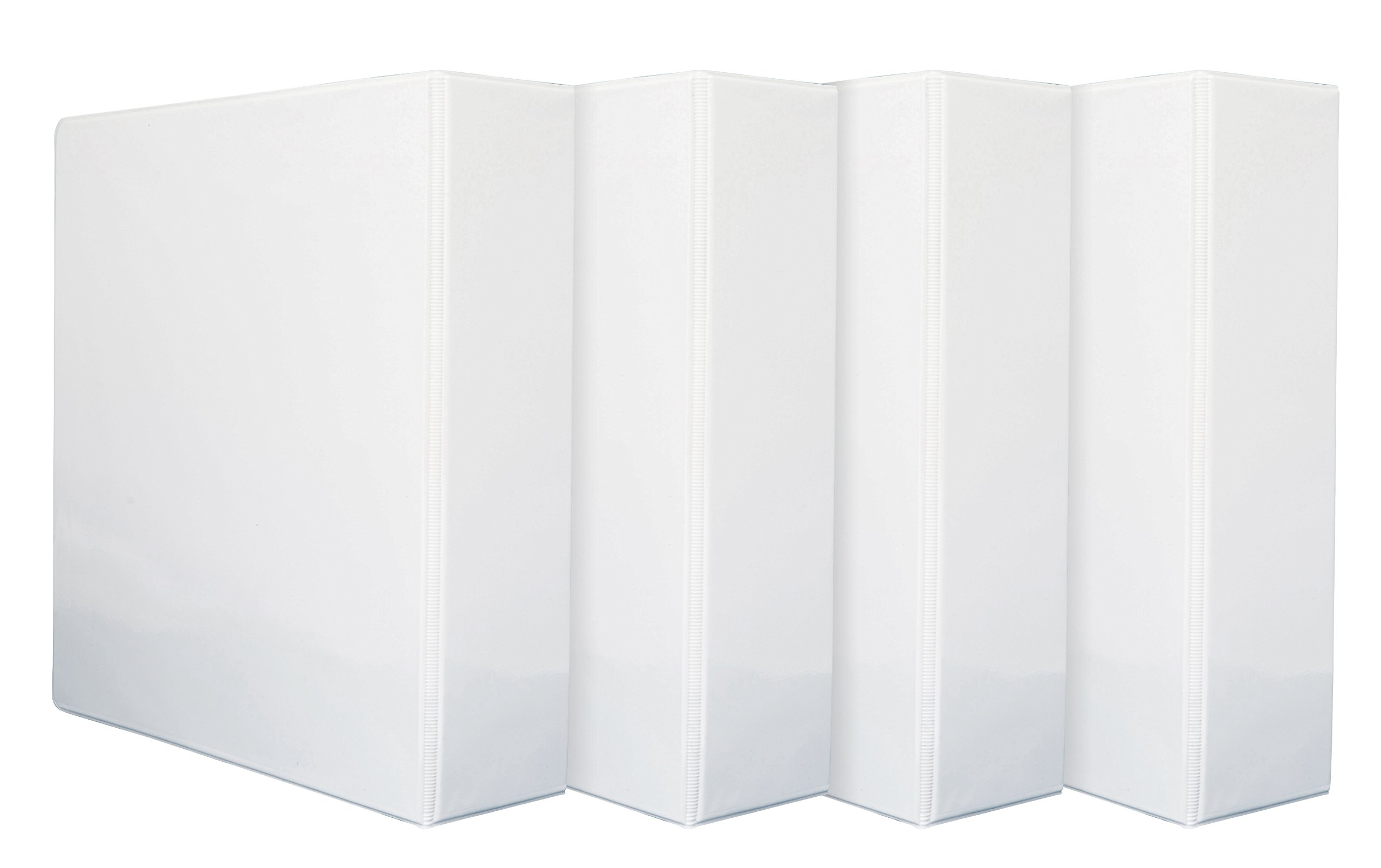 4 Pack 3'' 3-Ring Binders, Rugged Design for home, office, and school, holds up to 625 sheets of 8.5'' x 11'' paper, White, 4 Binders