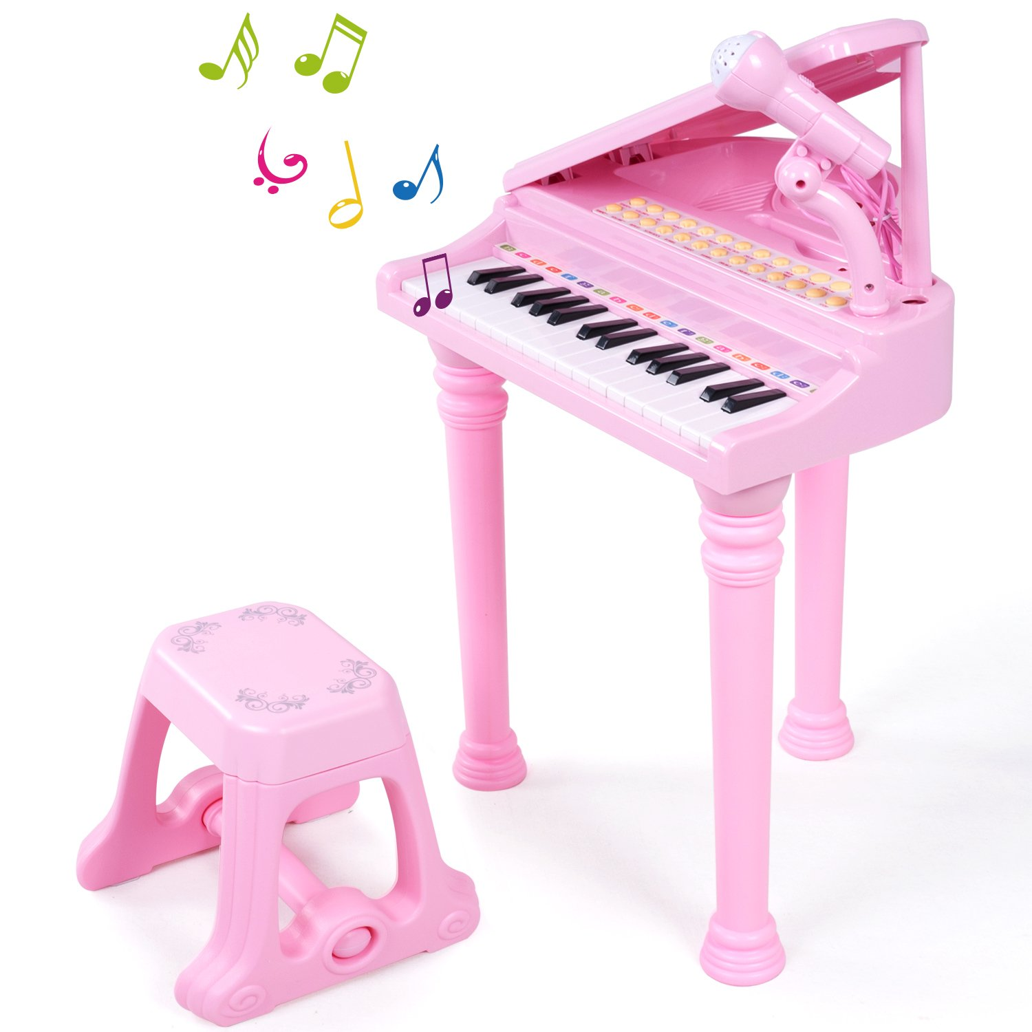 ANTAPRCIS 31 Keys Piano Keyboard Musical Toy Early Educational Musical Instruments for Kids Toddlers with Microphone and Stool, Pink