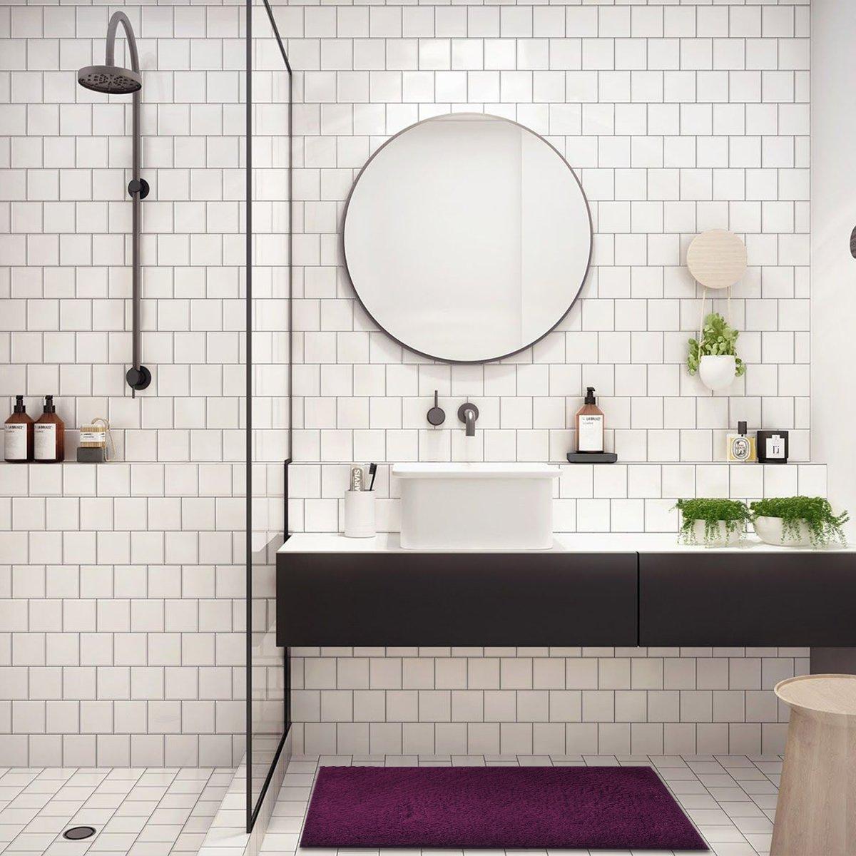 Amazon.com: Mayshine Soft Bathroom Rugs Shag Absorbent Bath Mat Non ...