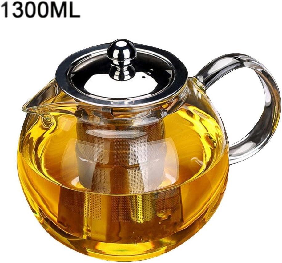 HoneybeeLY Th/éi/ère en Verre de cuiseur dinduction r/ésistant /à la Chaleur avec la cr/épine en Acier,Th/éi/ère en Verre avec pi/èces en Acier Amovibles,Th/éi/ère en Verre de Grande capacit/&eacu