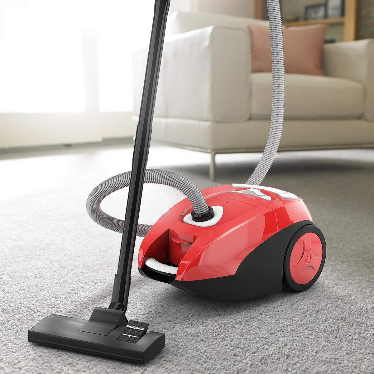 COSTWAY Bagless Canister Vacuum Rewind Corded Carpet Hard Floor Cyclonic Adjustable Vacuum Cleaner with Washable Filter (15'' X 11'' X 8'')
