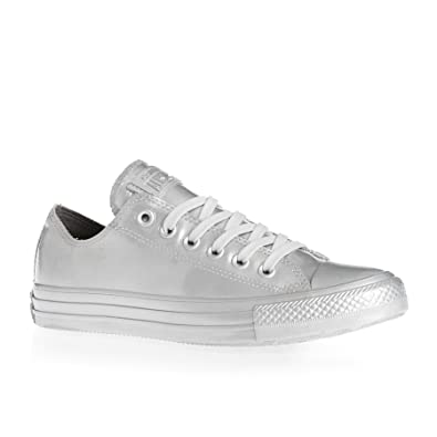 5492c3cdb1f5 Amazon.com  Converse Chuck Taylor All Star Metallic Rubber Ox Pure Silver ( Womens)  Shoes