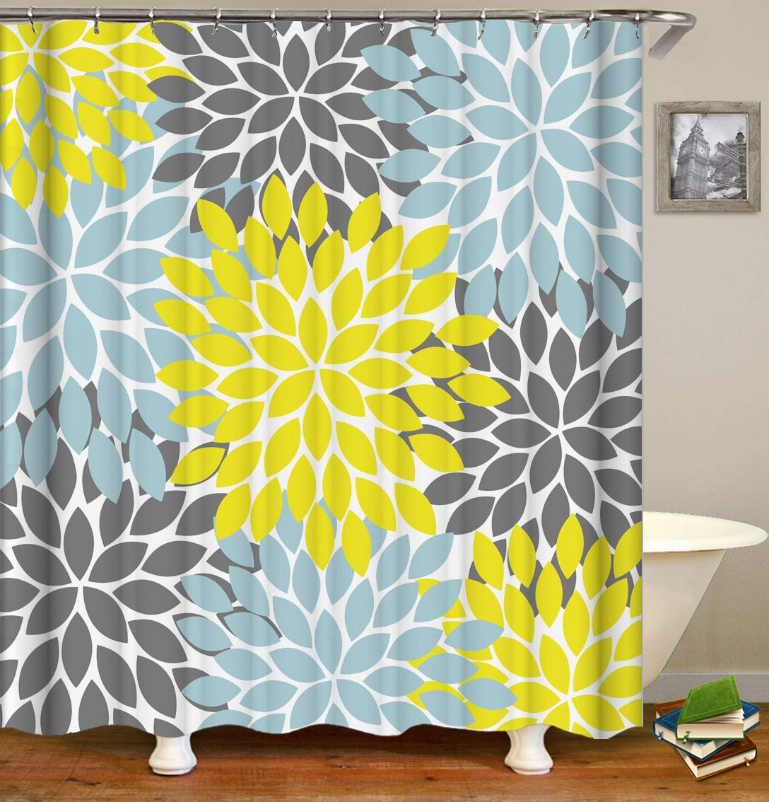 Raymall Yellow Gray Shower Curtain Dahlia Flower Floral Seamless Pattern Kaleidoscope Leaves 72x72 Inches Waterproof Polyester Fabric with Hooks for Bathroom Decor