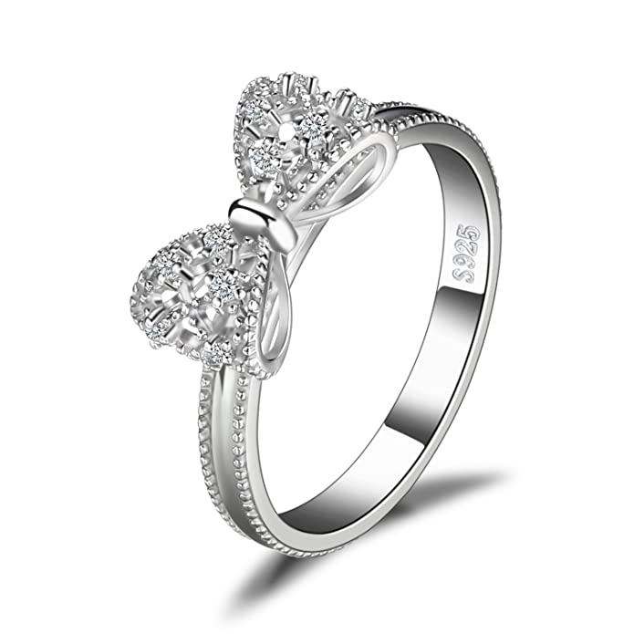 c951d0a7f JewelryPalace Bow Cubic Zirconia Anniversary Wedding Ring 925 Sterling  Silver: Amazon.ca: Jewelry