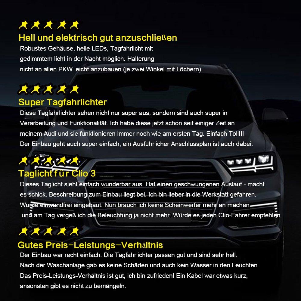 Tagfahrleuchten 12V super helle LED Tagfahrlicht Auto KFZ daylight JORSHAKE Tagfahrlicht 5050SMD R87 E4 StvzO