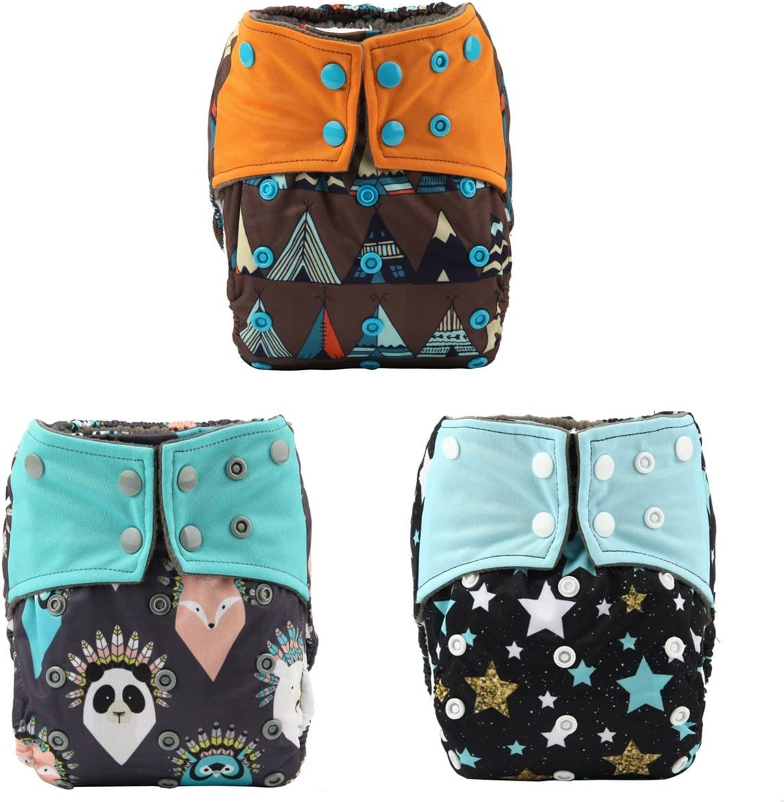 Sigzagor 3 AIll in One Night AIO Cloth Diapers Nappies Built in Charcoal Bamboo Insert Reusable Washable for Boys Teepee Stars