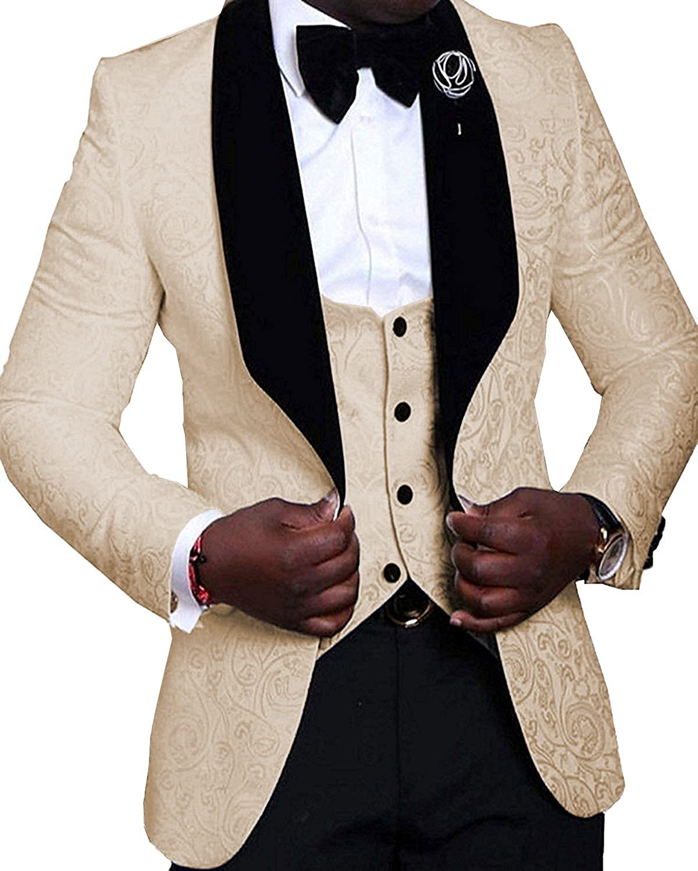 SOLOVEDRESS Mens 3 Pieces Suit Shawl Lapel Mens Suit Wedding Blazer Tuxedos