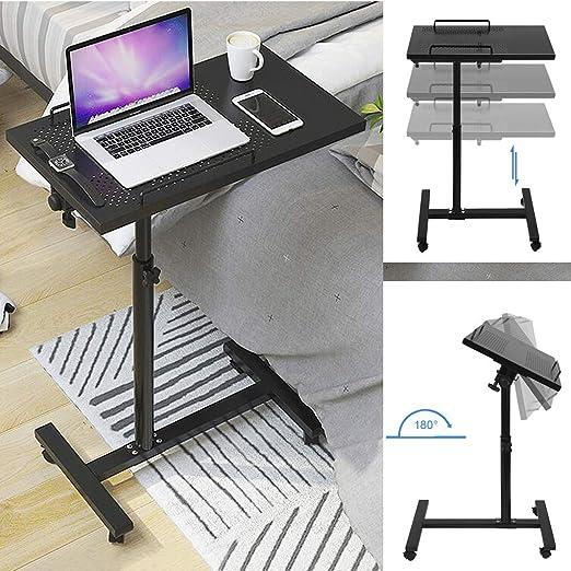 Mesa auxiliar de metal con altura ajustable para cama, mesa ...