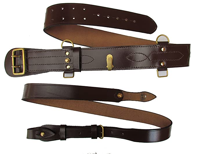 Sam Browne Belt  Shoulder Strap Brown Leather Brass Uniform Accessories R145  B01B5U4IWE