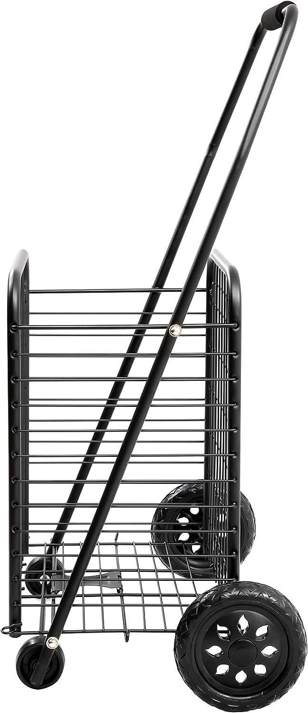 ligero 86 x 45 x 36 cm 43,5 l de capacidad Baab Carro de la compra plegable de 4 ruedas con alambre negro