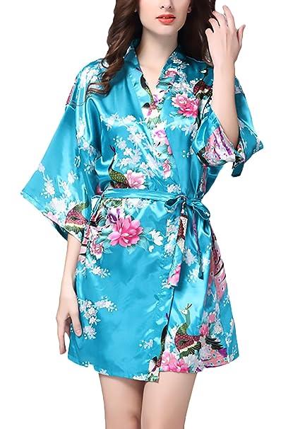 Pijamas Mujer Verano Albornoces Cortos Pavo Real Y Flor Impresa Elegantes Kimono Batas Ropa De Dormir
