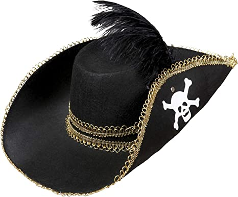 2 x Child Pirate Felt Pirate Hats Caps /& Headwear for Fancy Dress Costumes Accessory
