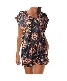 Combinaison Femme Casual Clubwear Combishort sans Manches Imprimé Combinaison Body Party Ba Zha Hei (XXL, Noir)