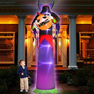 TURNMEON 12Ft Halloween Inflatables Decor Blow Up Headless Ghost Pumpkin Grim Reaper LED Lighted Creepy Halloween Decoration Outdoor Yard Garden with Stakes Tethers