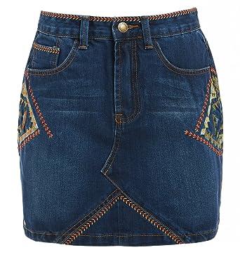 1c8a736c248 SS7 New Womens Aztec Print Denim Skirt Ladies Embroidered Skirts New Size 8  10 12 14 Indigo (10, Indigo): Amazon.co.uk: Clothing