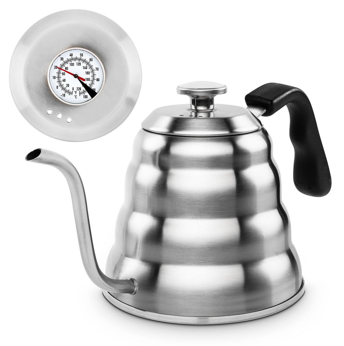 Bollitore in acciaio inox per tè o caffè, con termometro, adatto a un piano cottura a gas e in vetroceramica, di capacità 1,2l, con incluso il cucchiaio in acciaio inox di capacità 1 2l Buntfink