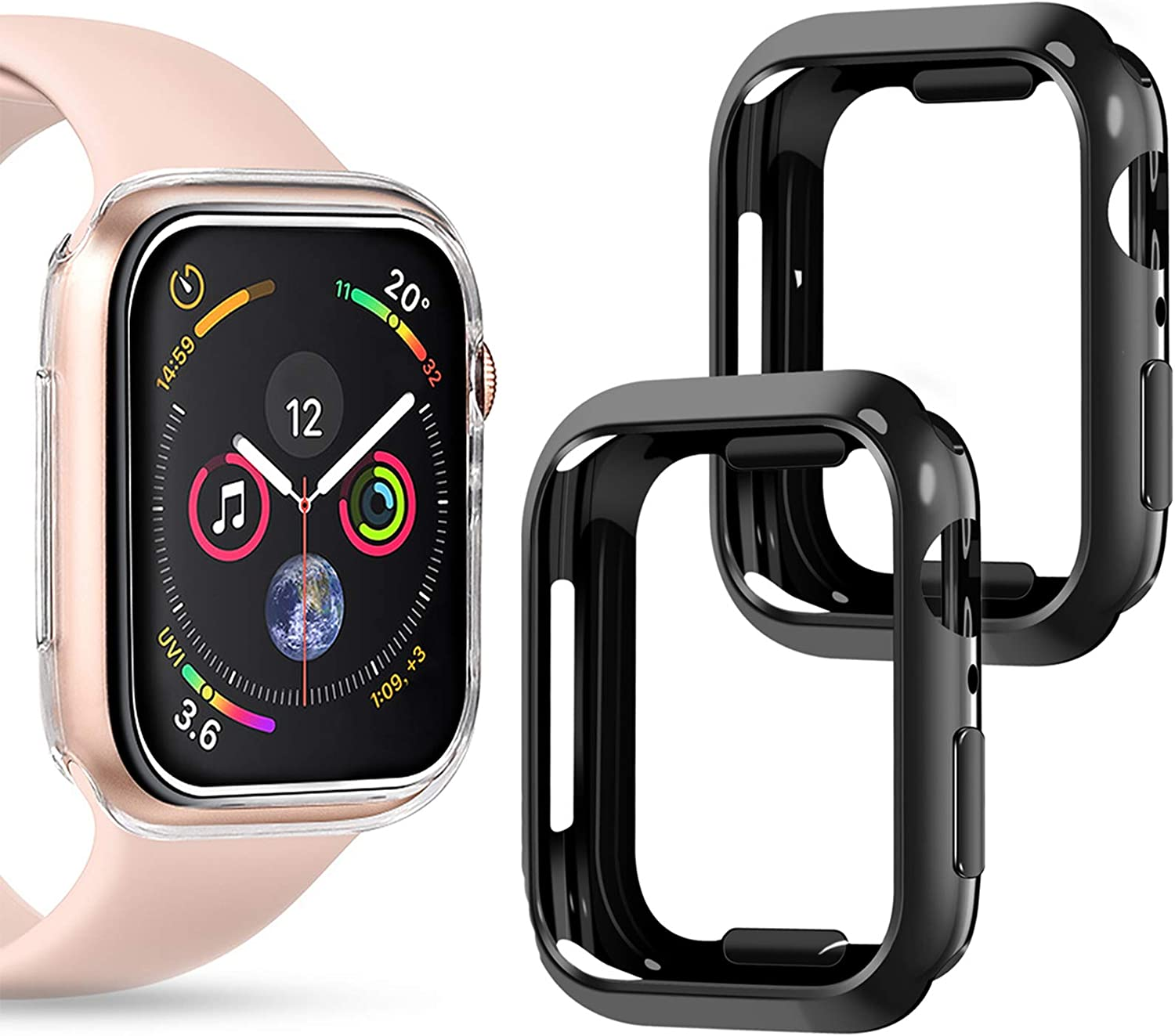 Goton Compatible iWatch Apple Watch Case 44mm SE/Series 6 / Series 5 / Series 4, (2 Packs) Soft TPU Shockproof Case Cover Bumper Protector (Black and Black, 44mm)