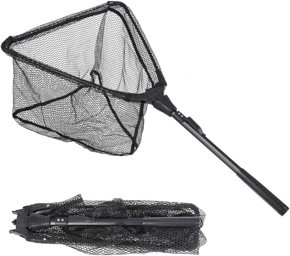 Teleskop-Kescher 180cm Sehr Stabil Und Trotzdem Sehr Leicht JDDSA Fishing Equipment Kescher Faltbarer Erwachsene und Kinder Unterfangkescher mit Gummierten Netz f/ür gro/ße und kleine Fische