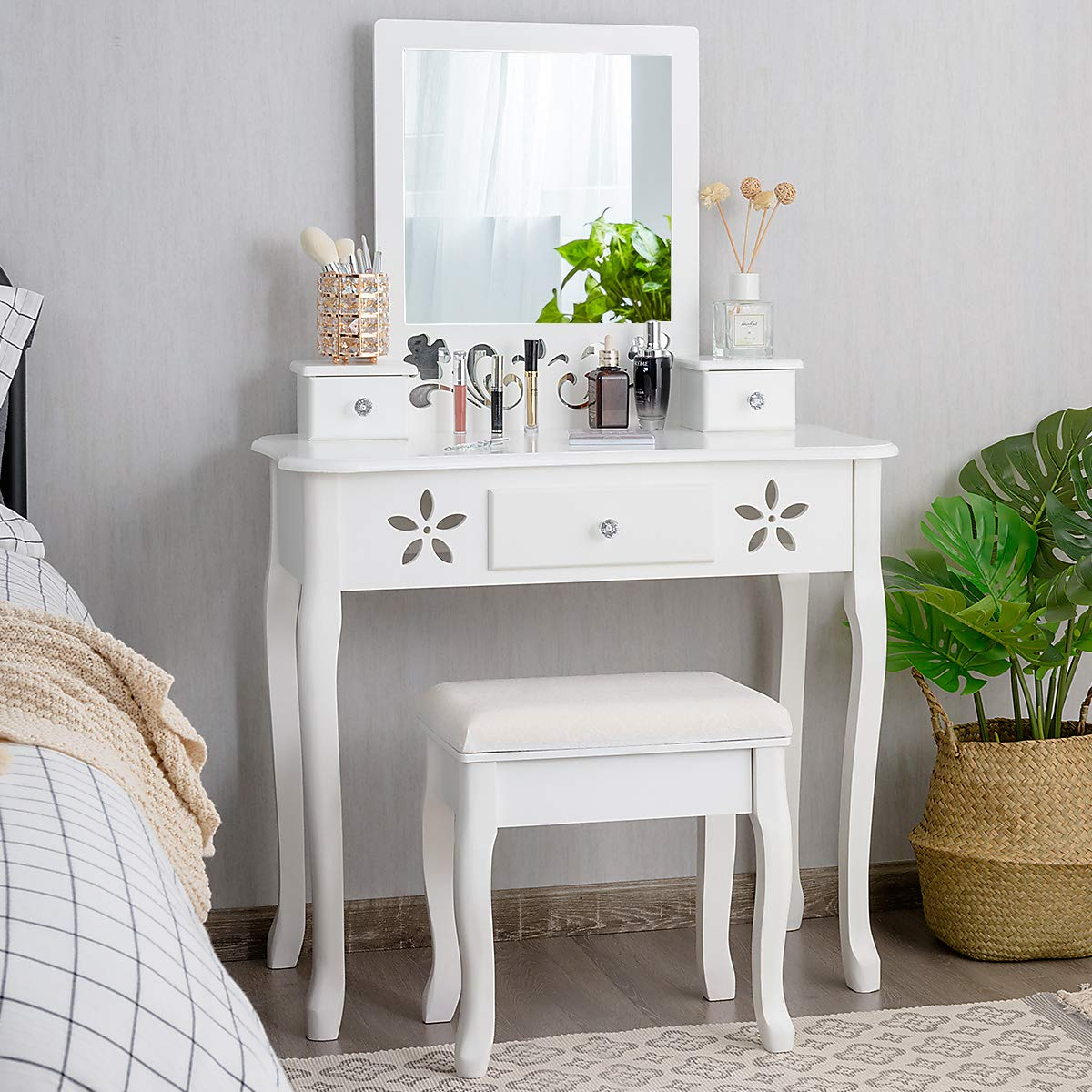 CHARMAID Vanity Table Set with Large Square Mirror and Hollow Carved Frame, Makeup Table with 3 Drawers and Crystal Handle, Dressing Table with Cushioned Stool for Women Girls (White) by CHARMAID