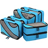Amazon Brand: Eono Essentials 6 Set Packing Cubes,3 Various Sizes Travel Luggage Packing Organizers Blue