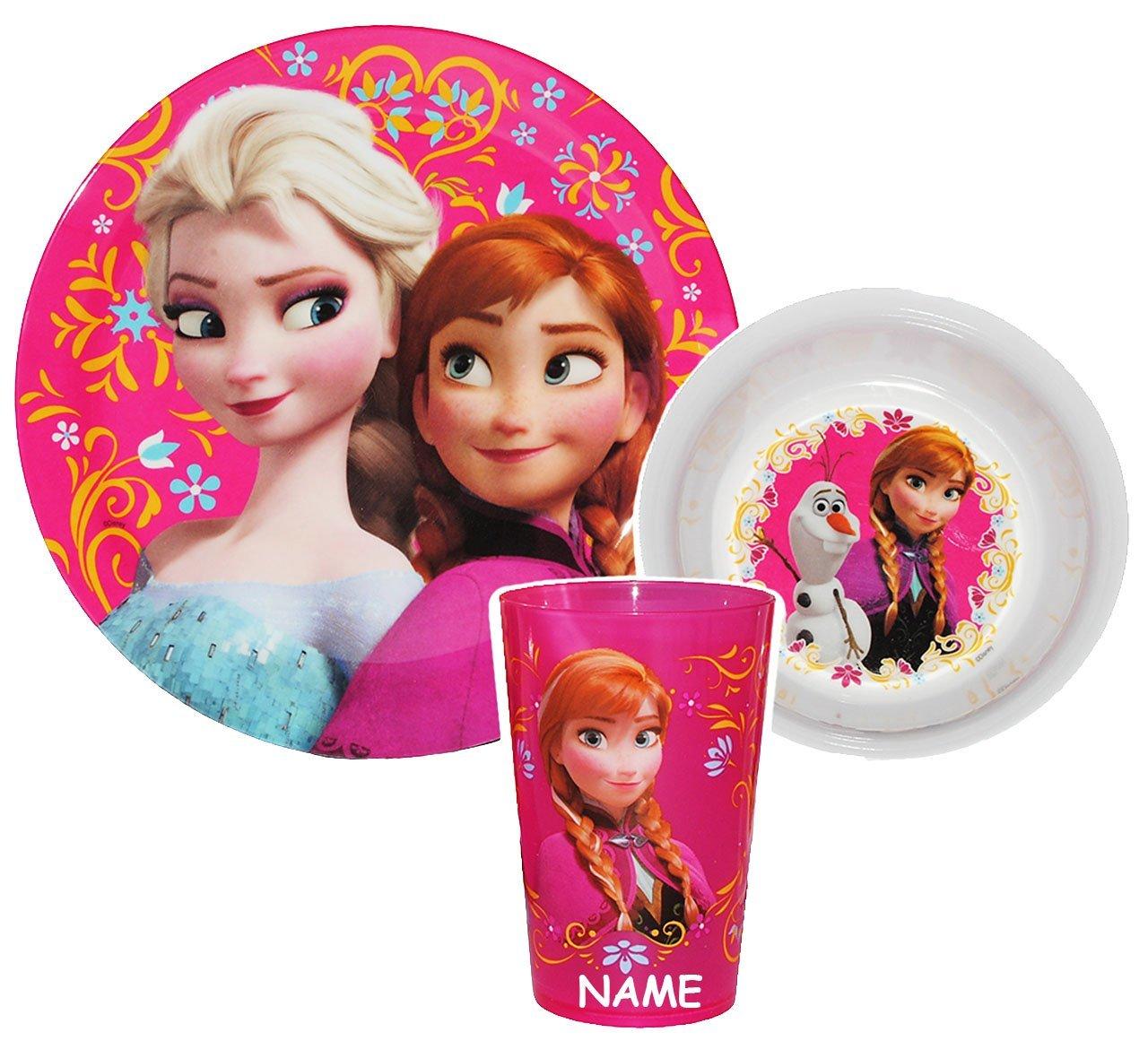 Unbekannt Kindergeschirr incl. Name -  Disney die Eiskönigin / Frozen  - Melamin - Trinkbecher + Teller + Müslischale - Geschirrset - Frühstücksset Mädchen - für Kind..