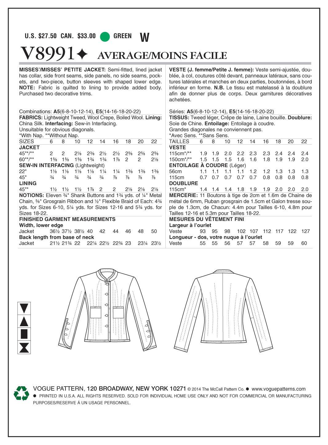 Vogue Patterns V8991 A5 - Patrones de costura para chaquetas de ...