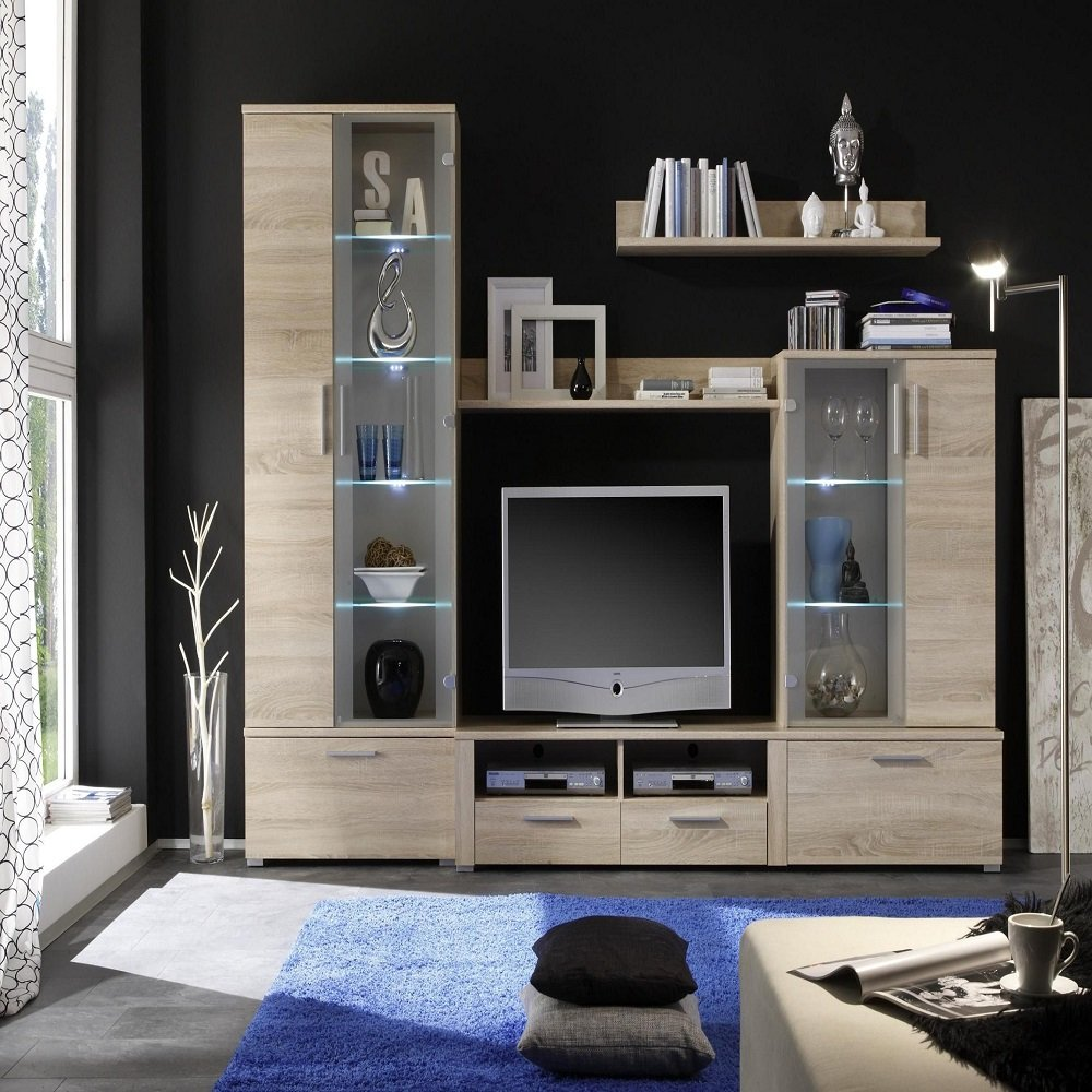 Amazon com german furniture warehouse diana tv stand wall unit with glass hutch kitchen dining
