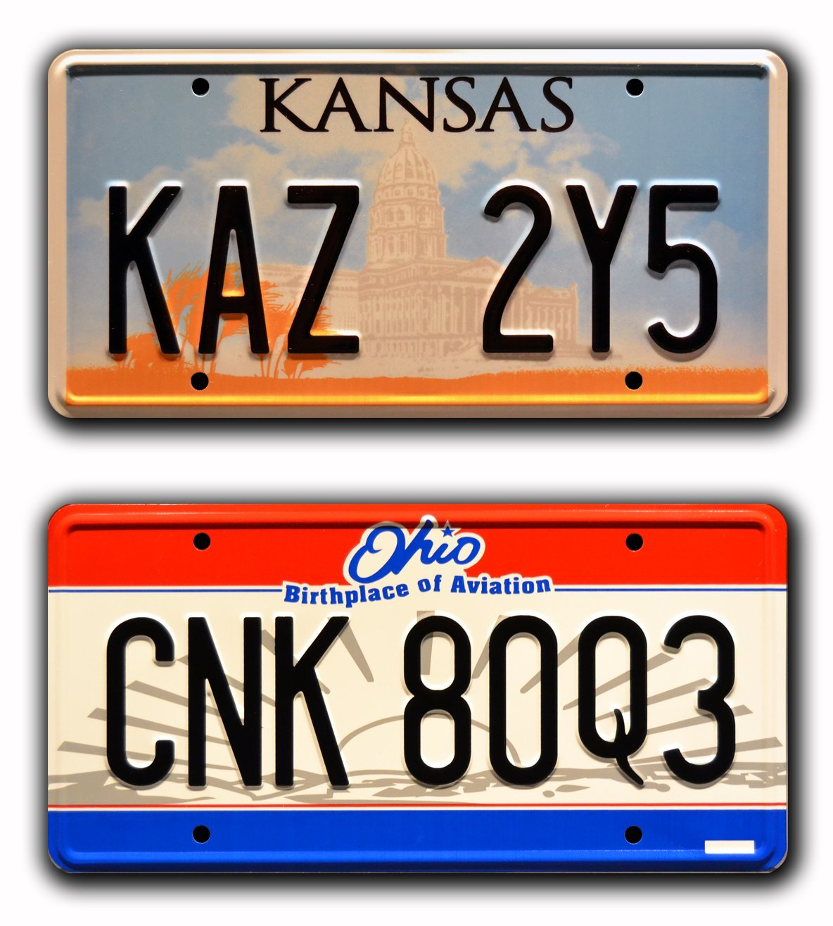 Celebrity Machines Supernatural   Winchester's Impala   Kaz 2Y5 & CNK 80Q3   Metal Stamped Vanity Prop License Plate Combo