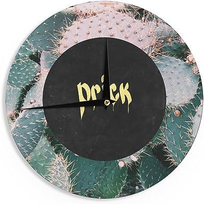 "KESS InHouse Chelsea Victoria ""Prick"" Typography Green Wall Clock, 12"""