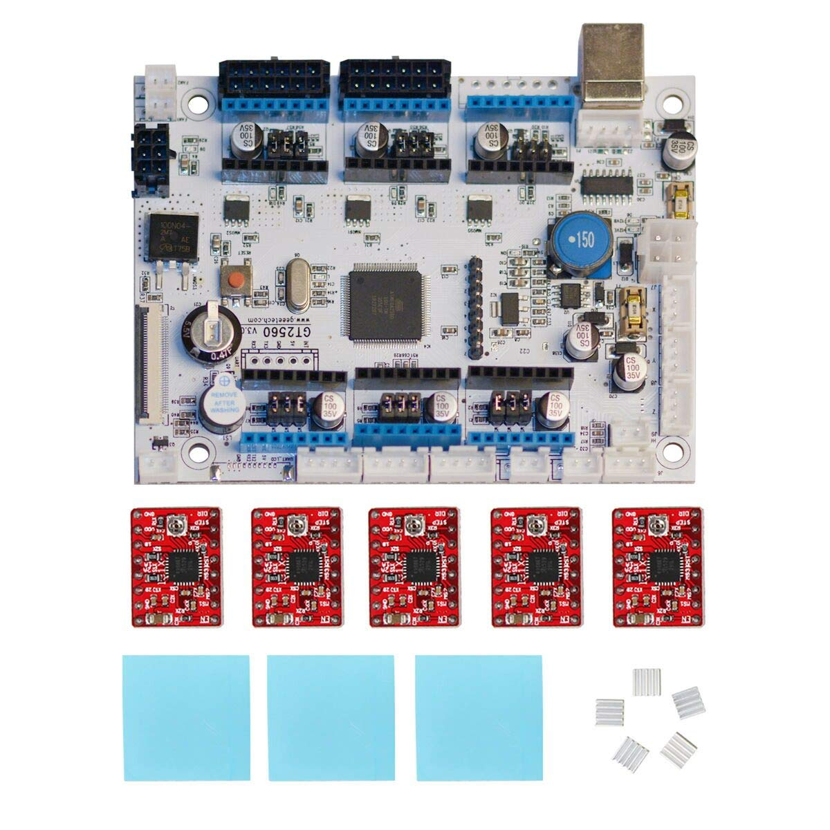 Geeetech GT2560 V3.0 Control Board Kit with 5 Pcs A4988 Stepper Motor Drivers, Supporting Filament Runout Detector and Auto Leveling Sensor, Compatible with Geeetech A10M, A20M Mix-Color Printers.