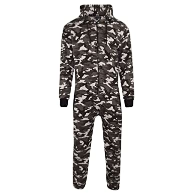 5df38dade Mens Unisex Onesie Full Camouflage Print Zip Up All in One Hooded ...