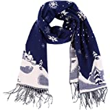 Vbiger Unisex men women Reversible Winter Scarf Oversized Warm Wrap Shawl Thickened Pashmina with Tassels