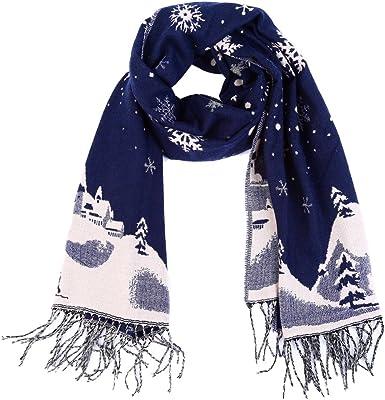 Vbiger Navidad Unisex Hombres Mujeres Reversible Bufanda Oversized De Invierno Cálido Wrap Shawl Thickened Pashmina Con Flecos Oversize Azul Marino Clothing