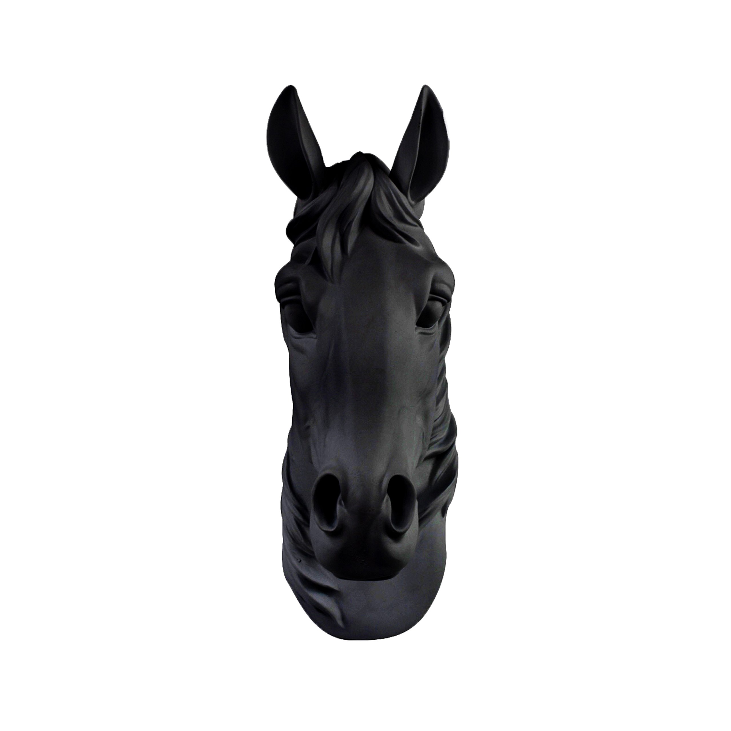Wall Charmers Horse in Black - Faux Head Bust Fauxidermy Animal Art Taxidermy Resin Fake Decorative Mount Decor Mounted Replica by Wall Charmers (Image #1)