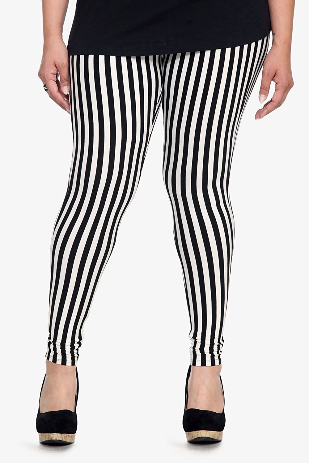 Plus Size Black and White Leggings