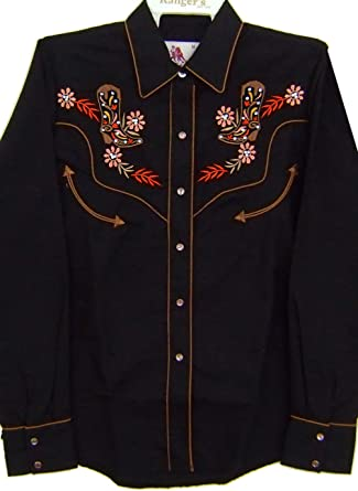 Modestone Womens Embroidered Fitted Western Camisa Vaquera Filigree Cowboy Boot Black L: Amazon.es: Ropa y accesorios