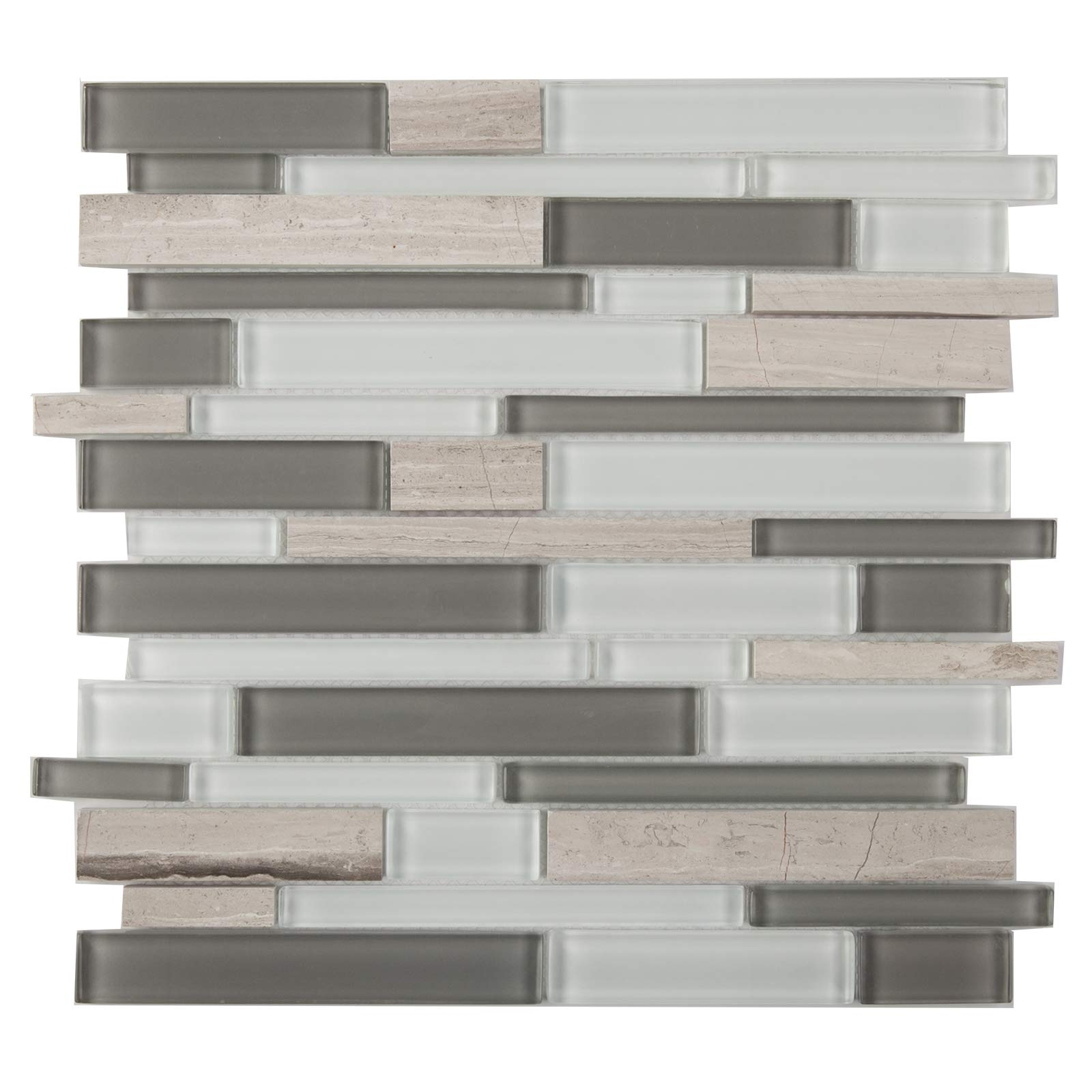 Special Sale - Glass and Marble Mosaic Tile,''Seasons Collection'', IL 803 - Summer, Mixed Strips, 12''X12'' (Box of 5 Sheets)