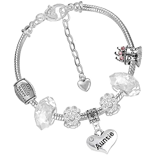 ec8418716 Image Unavailable. Image not available for. Color: Charm Buddy Aunt Auntie  Aunty Pandora Style Bracelet With Charms Beads ...