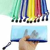 Newbested 30 PCS 5 Colors A4 Plastic Zip File Paper Document Folder Bags Storage Pouch Waterproof Plastic Double Layer Zipper File Bags Invoice pouches Bill Bag Pencil Pouch Pen Bag
