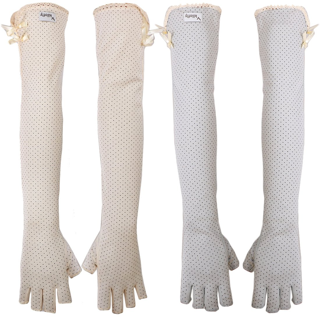kilofly Women's Long Anti-UV Breathable Arm Sun Block Driving Gloves, 2 Pairs