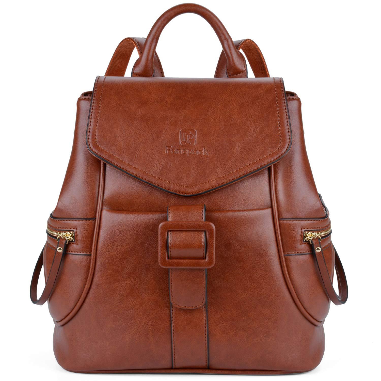 Fanspack Women's Vintage PU Leather Backpack Ladies Casual Shoulder Bag School Bag
