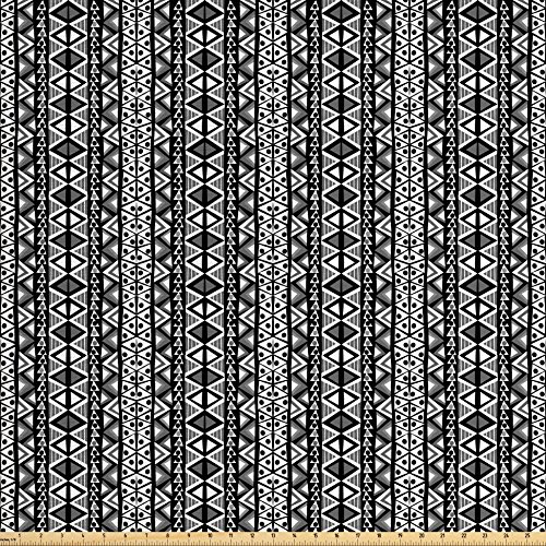 Ambesonne Retro Decor, Ethnic Boho Aztec Pattern in Black and White with Western Native Effects Folk Design, Decorative Fabric for Upholstery and Home Accents, Grey Black ()