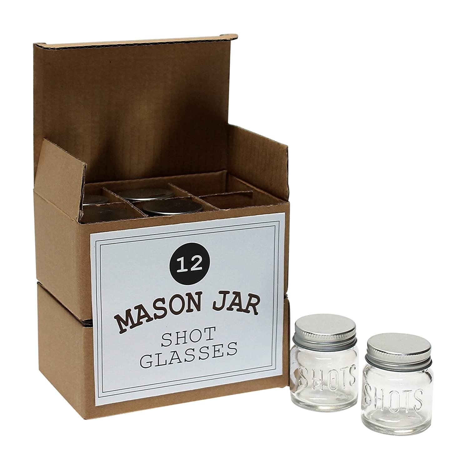 Mason Jar 2 Ounce Shot Glasses Set of 12 With Leak-Proof Lids - Great For Shots, Drinks, Favors, Candles And Crafts Mason Jar Warehouse