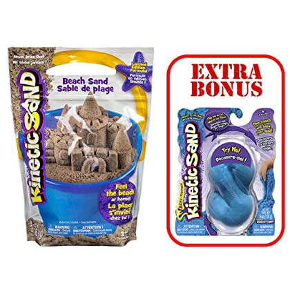 Kinetic Sand - 3lb - Kinetic Beach Sand by Spin Master - Wacky-Tivities | BONUS 6 oz. Neon Sand Assorted |