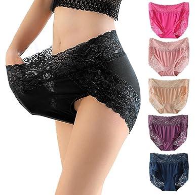 625b4cab24071 Imixcity Lot de 3/6 Femme Culottes Modal Grande Taille Haute élastique  Comfortable Slips avec Dentelle Florale